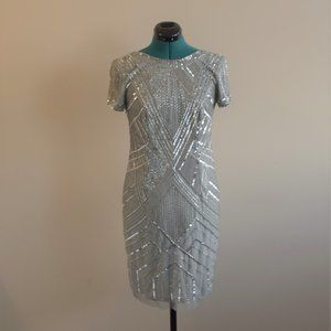 Beaded Sequined Embellished Party Dress Gray